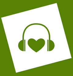 Headphones with heart white icon obtained vector