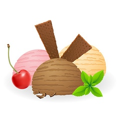 ice cream balls 03 vector image vector image