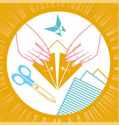 icon of origami children vector image vector image
