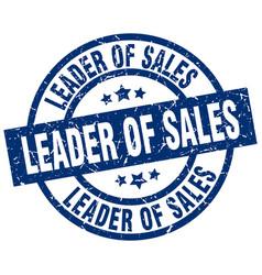 Leader of sales blue round grunge stamp vector