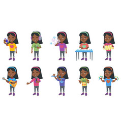 little african girl set vector image