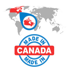 Made in canada stamp world map with red country vector