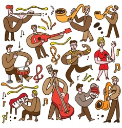 musicians - cartoons set vector image vector image