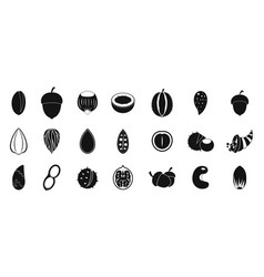 nuts icon set simple style vector image