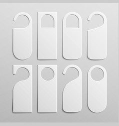 Paper plastic door handle lock hangers set vector