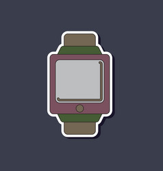Paper sticker on background of digital watch vector