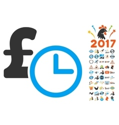 Pound Credit Icon With 2017 Year Bonus Symbols vector image vector image