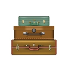 Realistic suitcases isolated on white background vector image