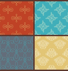 Set of seamless calligraphic patterns vector image vector image