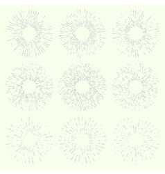 Set of vintage hand drawn sunbursts vector image vector image