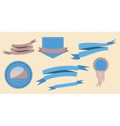 set retro ribbons and label vector image