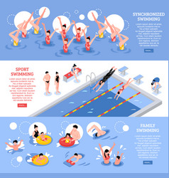 Swimming horizontal banners collection vector