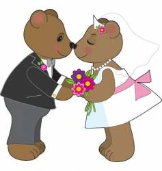 teddy wedding vector image vector image