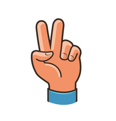 victory sign gesture two fingers raised up vector image vector image