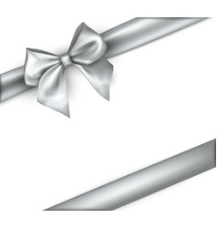 White holiday background with grey bow vector