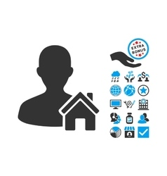 Home user flat icon with bonus vector