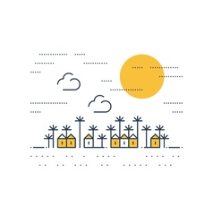 Southern village houses under sun vector