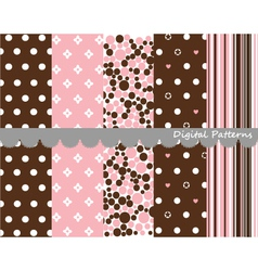 Digital patterns scrapbook set vector
