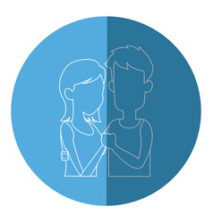 Silhouette embracing couple relationship blue icon vector
