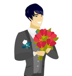 Young asian groom with a bridal bouquet vector