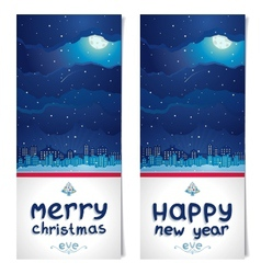 Night before christmas and new year two flyers vector
