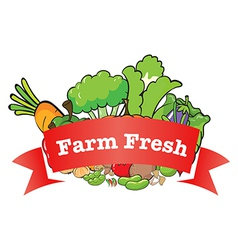 A farm fresh label with fresh vegetables vector image