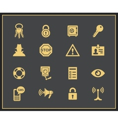 Security and warning icons vector image