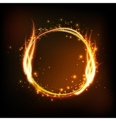 Dark background with shiny round frame with flame vector
