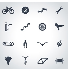 Black bicycle icon set vector