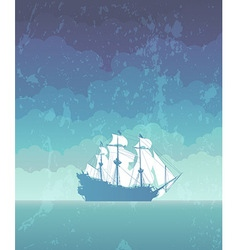 Sailboat with white sails vector