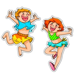 Excited kids vector
