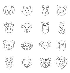Animal face set vector