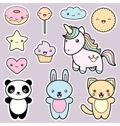 Set collection of cute kawaii style labels vector image
