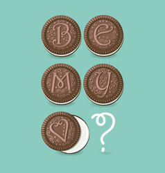 Be my valentine chocolate cookies with graceful vector