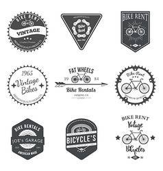 Bike rent label and badges design vector