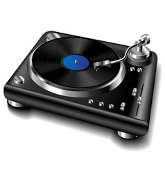 Black turntable vector image