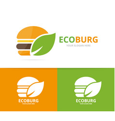 burger and leaf logo combination hamburger vector image