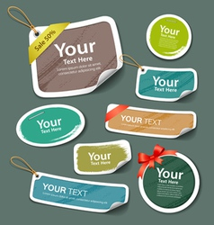 Colorful collection label and tag paper esign vector
