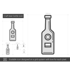 Craft beer bottle line icon vector image