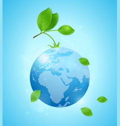 Earth and green leaves vector
