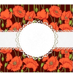 Elegant dark vintage postcard with poppies vector