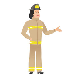 Firefighter with arm out in a welcoming gesture vector