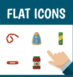 flat icon eating set of bratwurst kielbasa vector image vector image