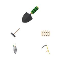 Flat icon farm set of pump wooden barrier cutter vector