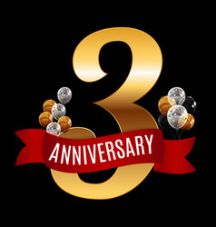 Golden 3 years anniversary template with red vector