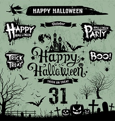 Halloween day silhouette collections vector image vector image
