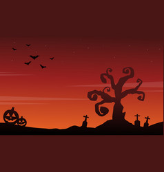 Halloween scenery silhouette style background vector