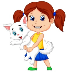 Happy cartoon little girl hugging her pet vector
