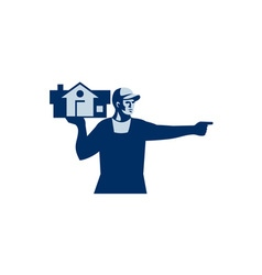 House remover carrying house retro vector