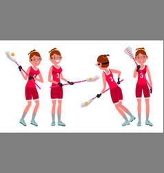 Lacrosse female player high school or vector